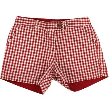 Reversible Women's Shorts in Crimson and White Gingham and Solid by Olde School Brand - FINAL SALE