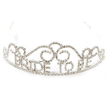 Silver Rhinestone Bride to Be Tiara Hair Accessory