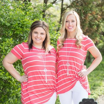 Coral & White Striped Knotted Tee