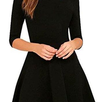 EVELUST Womens Cute scallops Neckline Thick Soft Half Sleeves Stretch Little Black Dresses