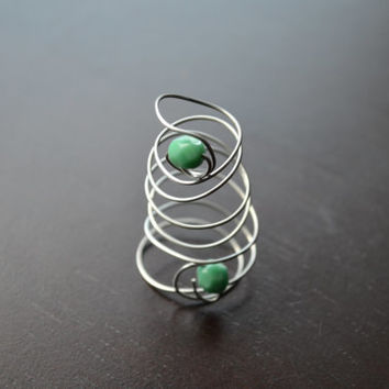 Adjustable Green Ring, Wire Wrapped Spiral Ring, Bridal Double Ring, Wedding Jewelry, Green Bead Ring, Wire Handmade Jewelry