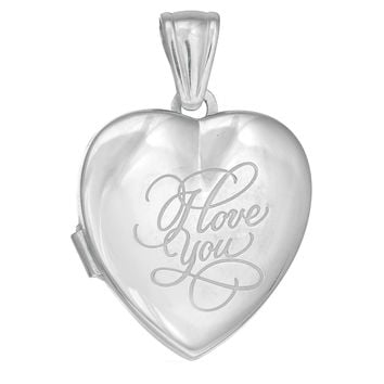 Sterling Silver With Rhodium Finish Heart Locket Pendant With 'I Love You' Engraving - 25 mm