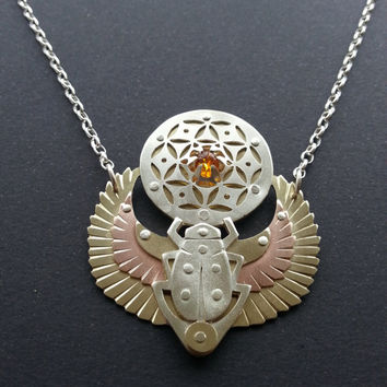 Winged Scarab Pendant holding Seed of Life with Amber - Egyptian - Handcrafted Sacred Geometry
