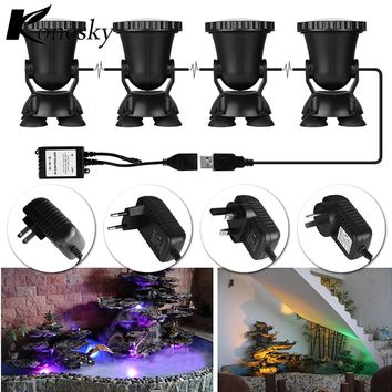 4pcs Remote Control RGB 36 LED Underwater Spot Light Highly Waterproofing IP68 Tank and Aquarium Landscape Lights EU / US Plug