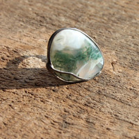 Moss Agate ring green stone ring, statement ring, Engagement ring, coctail ring, adjustable ring