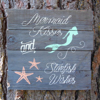 """Joyful Island Creations """"mermaid kisses and star fish wishes"""" wood sign/ coral and mint/ mermaid sign"""