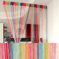 Rainbow Curtain Room Door Divider String Line Panel