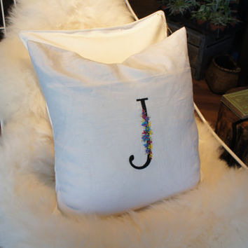 Monogrammed Pillow Cover Letter Pillow Solid Pillow Dorm Decor Initial Monogram 18 x 18 Personalized Gift Baby Wedding