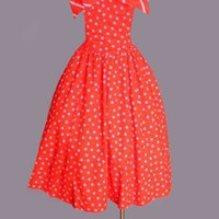 1970's Pink & Red Polka Dot Strapless Dress - M :