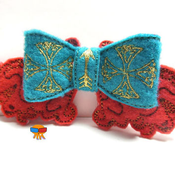 Red haired Princess of great interal fortitude inspired 3D felt bow felt clippie physical item made to order