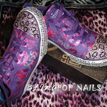 bling kiss me Converse All-Star Shoes with Swarovski Crystal size : US 4 UK 3.5 CM 22