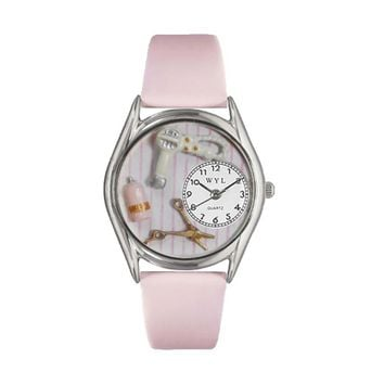 Beautician Female Pink Leather And Silvertone Watch