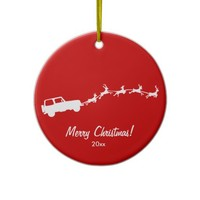 Jeep Wrangler with Flying Reindeers Christmas Tree Ornaments
