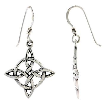 Sterling Silver Celtic Witches Knot Earrings, 7/8 inch long