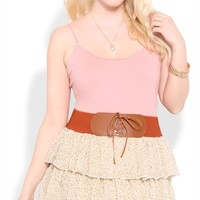 Plus Size Tiered Skirt with Ditsy Floral Print and Belted Waist