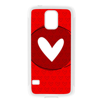 White Heart on Red White Silicon Rubber Case for Galaxy S5 by UltraCases