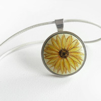 Cheerful Sunflower Necklace, White Leather Cord Hand Painted Pendant, Original Painting Jewelry, Choker