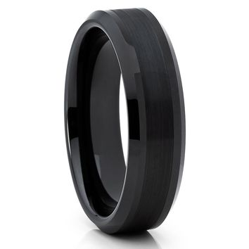 Black Tungsten Wedding Band - 6mm Tungsten Ring - Tungsten Carbide Ring - Brush