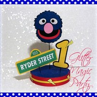 Super Grover Centerpiece Personalized Name and Age - Sesame Street