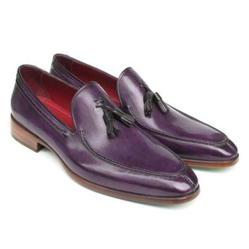 Paul Parkman Men's Tassel Loafer Purple Leather (ID#083-PURP)