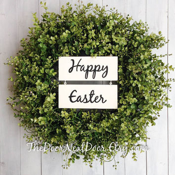Easter Wreath - Eucalyptus Wreath - Spring Wreath - Wreath with Wood Sign - Custom Wreath