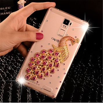 New Luxury 3D Peacock Bird bling Crystal diamond Mobile phone Shell Back Cover Skin Hard Case For LG k10