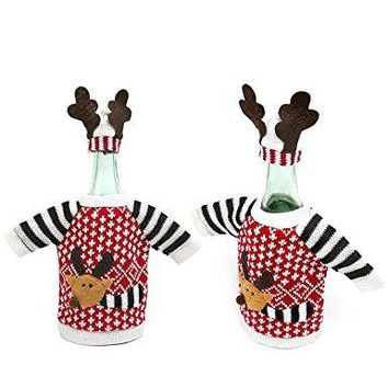 Reindeer Elk Wine Bottle Cover Knitted Sweaters for Wine Champagne Bottle Covers Black 2PCS