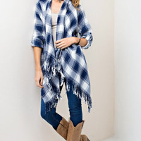Super Soft Blue Plaid Shirt Cardigan