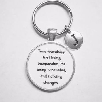 Choose Initial, True Friendship Best Friend Gift, Long Distance Friends Keychain