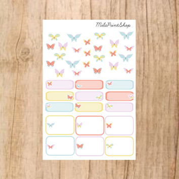 Butterfly Sampler Die Cut Planner Sticker, 36 stickers per sheet