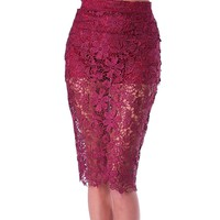 Signature Lace Pencil Skirt - Red