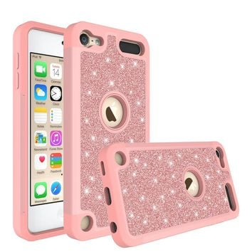 Apple iPod Touch 5 Case, Touch 6 Case,Glitter Bling Heavy Duty Hybrid Case with [HD Screen Protector] Dual Layer Protective Phone Case Cover - Rose Gold