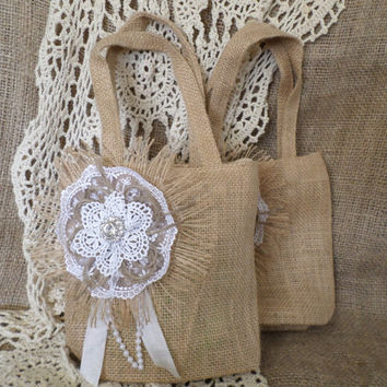 Small Burlap Bag/Flower Girl Bag/Basket