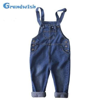 Grandwish New Kids Denim Overalls Children Jumpsuit Jeans Pants Boys and Girls Casual Jeans Pants for Toddler Girl 24M-10T SC197