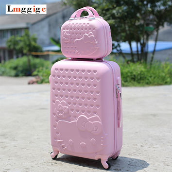 "20""22""24""28"" Hello Kitty Suitcase Set,Children Women's Lovely KT Luggage,High Quality ABS Travel Bag,Universal wheel Trolley box"