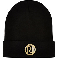 River Island Womens Black RI logo beanie hat