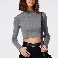 Missguided - Ribbed Long Sleeve Crop Top Washed Grey