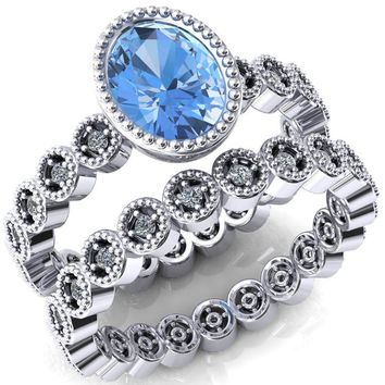 Borea Oval Lab-Created Aqua Blue Spinel Full Bezel Milgrain Diamond Accent Full Eternity Ring