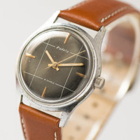 Vintage watch men's wristwatch silver shade Russian mid century style watch black face checked premium leather watch