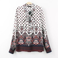 Floral Print Drawstring Bow Neck Long Sleeve Shirt