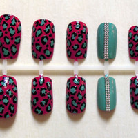 Funky Turquoise Cheetah Print on Magenta Fake Nails With A Tiffany-Inspired Turquoise Accent Nail and Silver Bullions Beads Nail Set