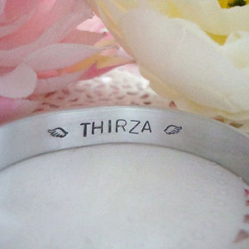 Hand Stamped Personalized Cuff Bracelet Stamped With The Name Of Your Choice Memorial Pet Loss Baby Loss Secret Message