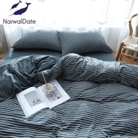 Cool 4 Pcs Naked Bedding Set Knitted Cotton Solid Color Full/Queen/King Bed Set Bed Linens Duvet Cover Bed Flat/Fitted SheetAT_93_12