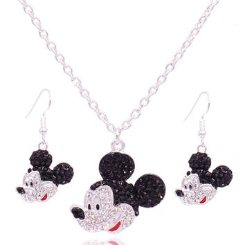 Fashion Jewelry Mickey Head Pendant Mouse Necklaces Women Rhinestone Crystal Earrings Necklaces set For Party Mickey Accessories