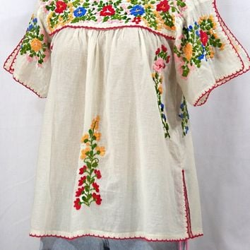 """La Lijera"" Embroidered Mexican Blouse -Off White"