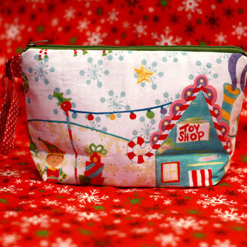 Christmas Gift - Elf Shop, Cosmetic pouch, make up pouch, gift for her