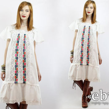 Vintage 70s White Lace Dress S M Embroidered Dress Tent Dress Mexican Dress Hippie Dress Hippy Dress White Dress Summer Dress Festival Dress