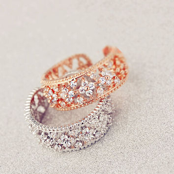 Resizable Four Leaf Clover AAA zircon crystal finger ring stackable created diamond women bridal wedding flower ring platinum color plated