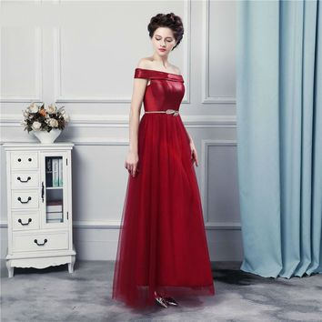 Elegant Wine Red Long Bridesmaid Dresses with Sashes Decoration Off Shoulder Strapless Corset Brides Maid Of Honor