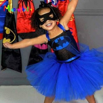 Batman Dark Knight gift Christmas Moeble Superhero Easter Party Girl Tutu Dress Children Cosplay Batman Dresses Baby Beautiful Batgirl Tutu Dress Sleeveless AT_71_6
